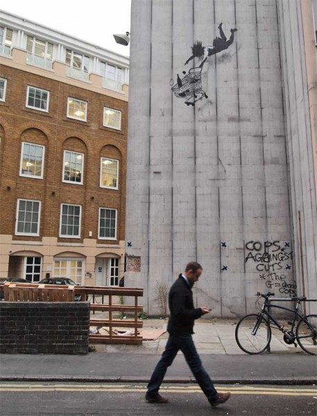 Banksy falling shopper