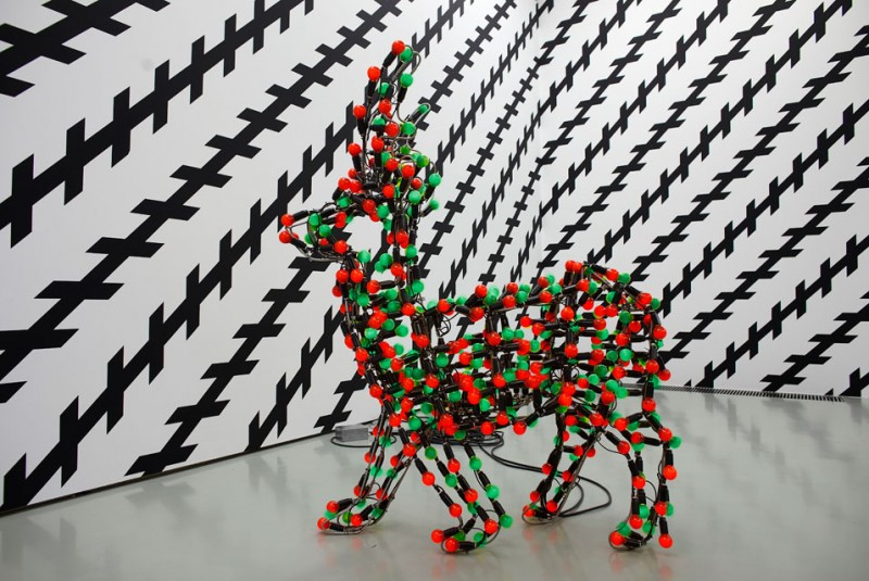 Carsten Holler Reindeer red green