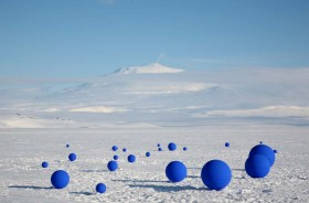 LITA ALBUQUERQUE STELLAR AXIS ALIGNS 99 BLUE SPHERES TO STARS IN THE ANTARCTIC SKY
