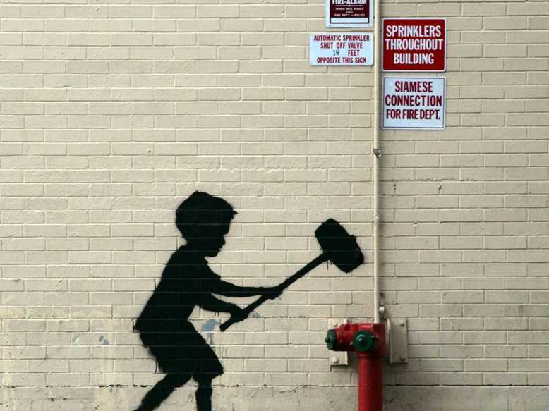 Banksy   Hammer Boy Upper West Side