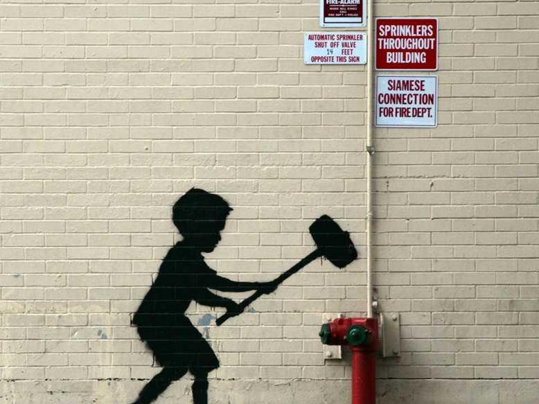 Banksy   Hammer Boy Upper West Side