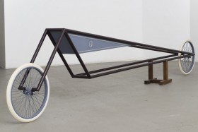 Gianni Piacentino, DARK AMARANTH FRAME VEHICLE WITH BLUE-GRAY TRIANGLE TANK