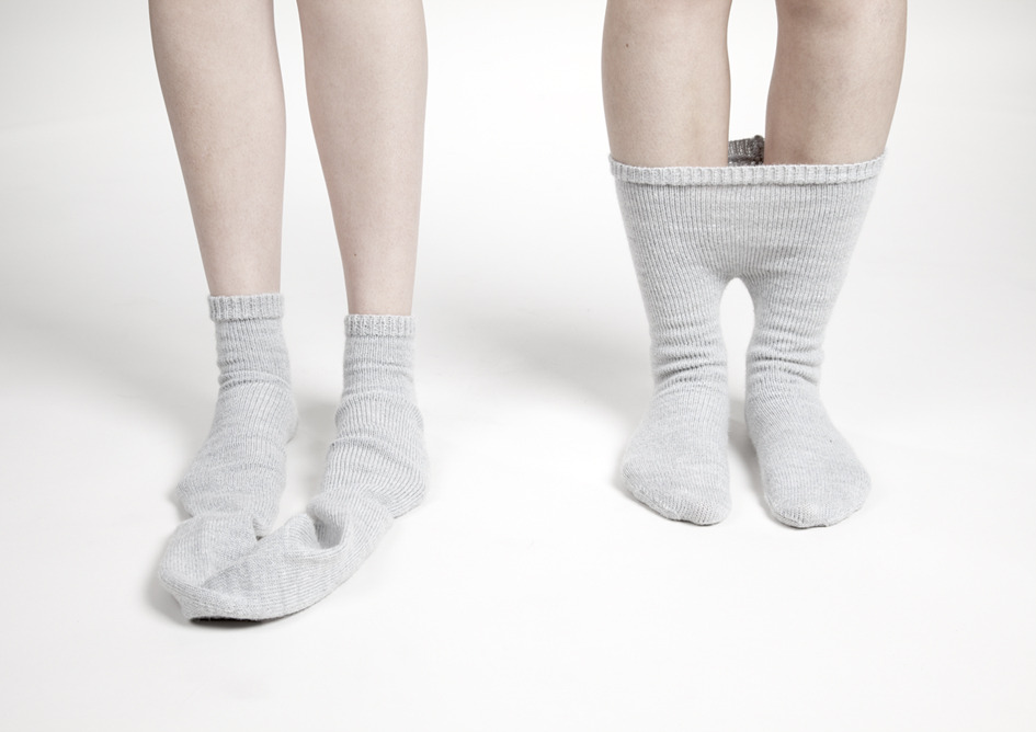 Imme Van der Haak Siamese socks and Elastic Minds