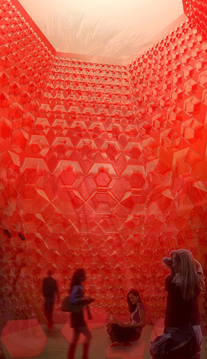 sitbon architectes Glowing Red Grenade Pavilion